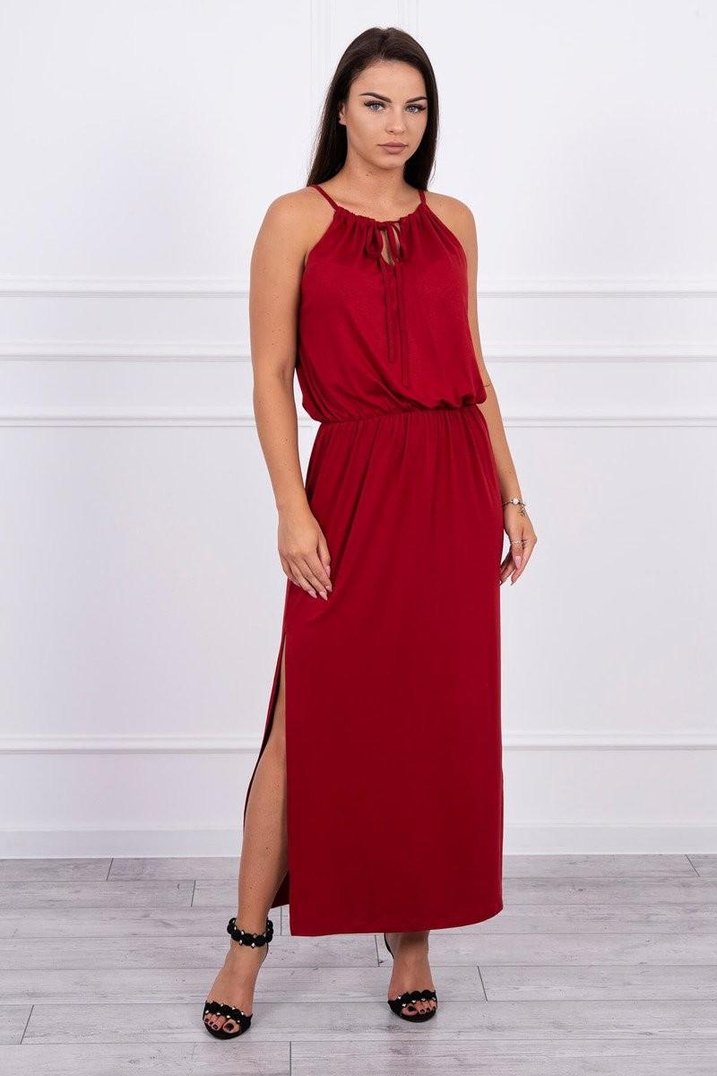 Šaty v boho štýle s rázporkom bordové - Šaty - Dámska móda 32c878f830b